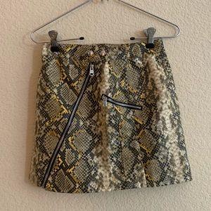 Bershka yellow snakeskin mini skirt with zipper